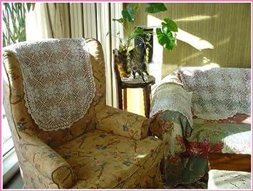 Vintage Hand Crochet 9pc Sofa Headrest Armrest Cloth Amazon Co Uk