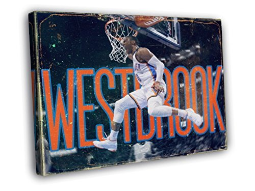 Russell Westbrook Dunk Awesome Vintage Painting Art Basketball Oklahoma City Thunder 30X20 Framed Canvas Print