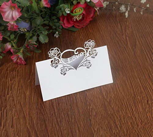 T-shin 50PCS Wedding Guest Name Place Cards Party Table Name Place Cards Paper Table Numbers Place Card Escort Name Card Laser Cut Design for Wedding Party Decoration Favor (Pearl White-Love)