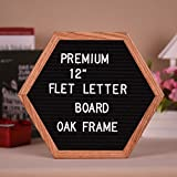 VT BigHome Letter Board Unique Hexagon Sign Message Home Office Decor Board Oak Frame with 290 Changeable Letters Symbols Numbers