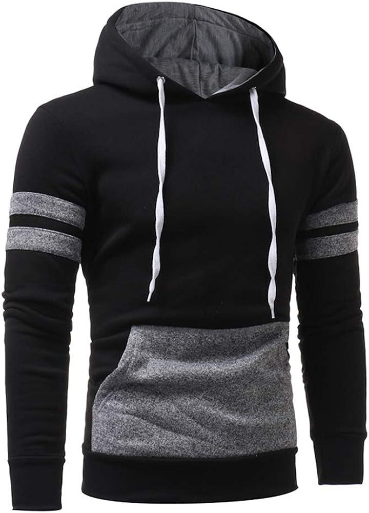 Finance Plan Fashion Men Casual Slim Fit Color Blocking Hoodie Sweatshirt Pullover Outwear