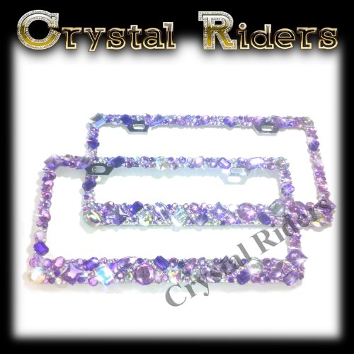 PAIR OF 2 Bling License Plate Frame with Purple Crystals Ab Iridescent Clear Metal Chrome Zink Alloy Holder Sparkly Sparkle Custom Hand Made Hand Crafted 2 SET (Auto Detailing License Plate)