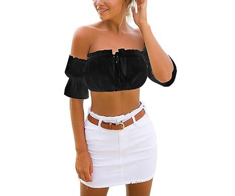 12eea82681 Yidarton Women s Sexy Off Shoulder Crop Top Casual Summer Frill Boobtube  Tops(Black