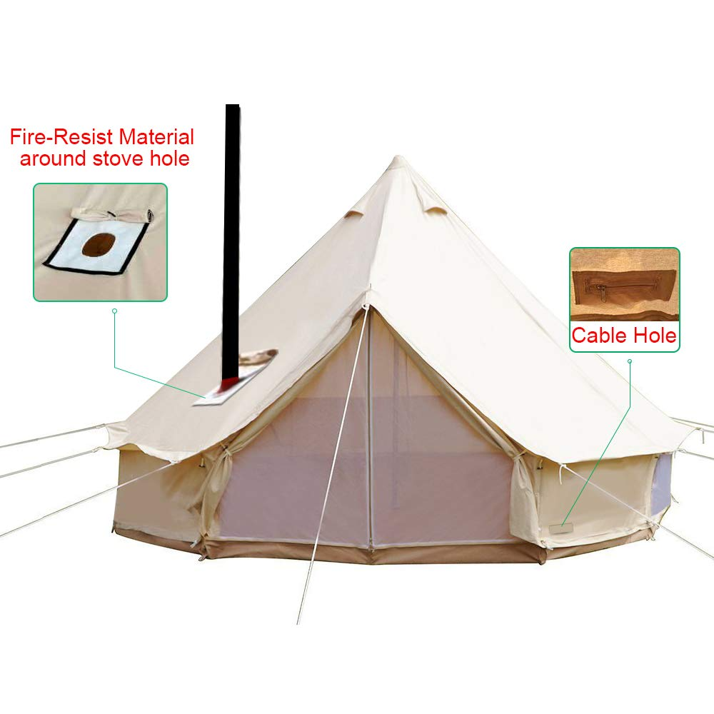 Wondrous Sporttent Camping 4 Season Waterproof Cotton Canvas Bell Tent With Stove Hole And Cable Hole Home Remodeling Inspirations Genioncuboardxyz