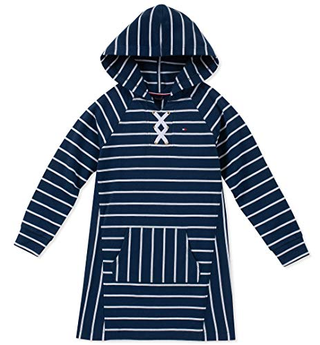 Tommy Hilfiger Big Girls' Hooded Sweatshirt Dress, Flag Blue, Medium (8/10) ()