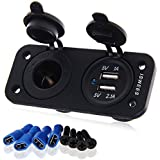 Car Charger,ISWEES Dual USB Car Cigarette Lighter Socket Splitter 12V Car Charger Power Adapter Outlet for Apple/Android Devices,Motorbike,Boat,Riding Mower,Tractor,Car,ect.