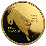 1987 SG Singapore 12 oz Proof Gold Year of the Rabbit Gold About Uncirculated
