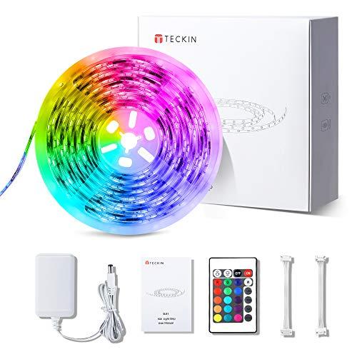LED Strip Lights16.4ft, TECKIN RGB Color Changing Light Strip Waterproof, 5050 LEDs with IR Remote Control, LED Lights…