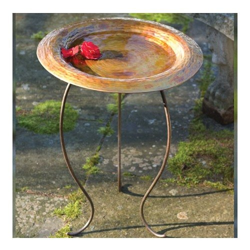 Ancient Graffiti Golden Copperplated Birdbath