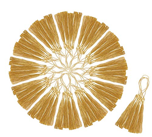 Mini Skater 5.5 inch Light Gold Floss Silky Bookmark Tassels with Cord Loop and Small Chinese Knot for Jewelry Making,Gift Tags,Souvenir and Handmade DIY Craft Projects Accessory,120pcs.