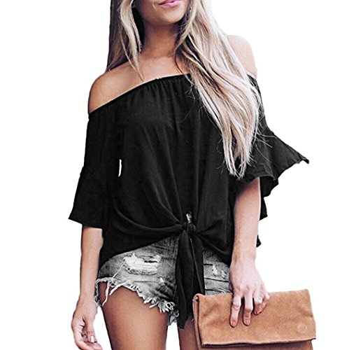 Women's Blouses Solid Off Shoulder Bell Sleeve Shirt Tie Knot Casual Tops