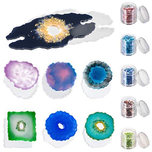 7 Moldes Imitacion Geodas Epoxy Resina Y 5 Frascos Glitter