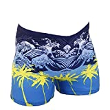 Men's Swimwear Square Leg Waves Print Swimsuits Surf Boxer Brief Trunks Shorts Blue