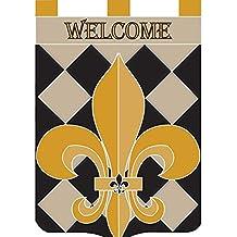 Classic Checkerboard Fleur de Lis 42 x 29 Shield Shape Double Applique Tab Top Large House Flag