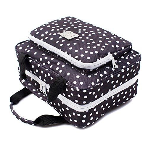 Large Hanging Toiletry Cosmetic Bag For Women - XL Hanging Travel Toiletry And Makeup Organizer Bag With Many Pockets (black polka dot)