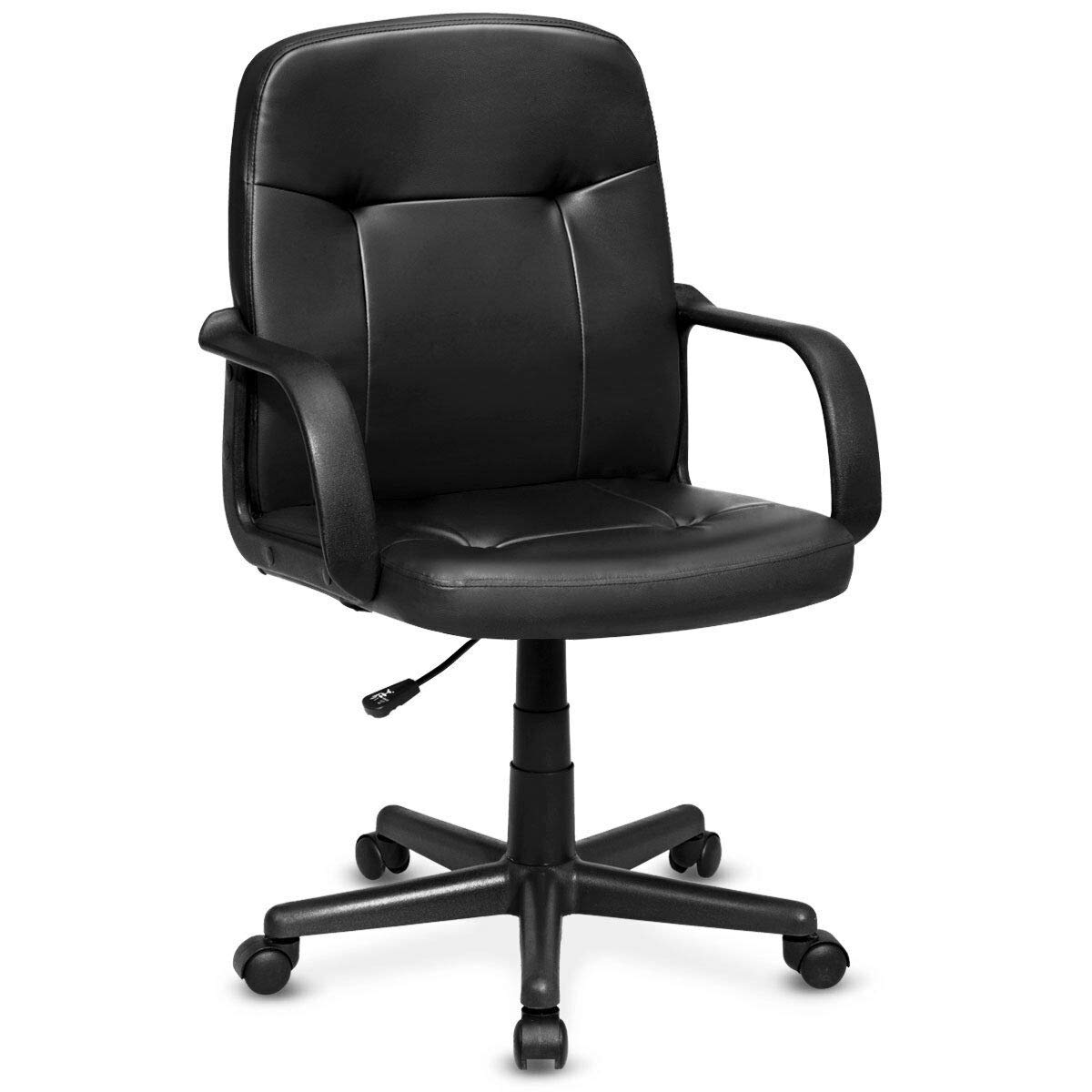 Giantex Mid Back Office Chair PU Leather Cushioned Seat with Armrest and Wheels for Home Office Furniture Ergonomic Swivel Computer Desk Task Chair, Black