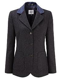 Womens Tweed Blazer With Contrast Collar Navy Herringbone