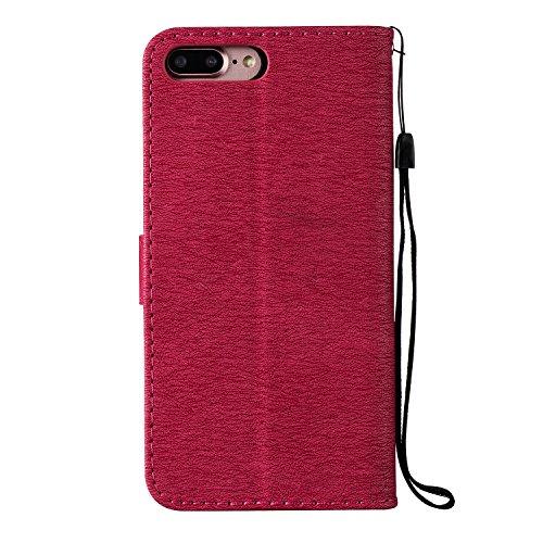 GR Case Cover TPU + PU per Apple IPhone 7 Plus, disegno in rilievo Ragazze strass premio TPU / PU Portafoglio in pelle caso del basamento di vibrazione con Holder & cordicella e slot per schede ( Colo