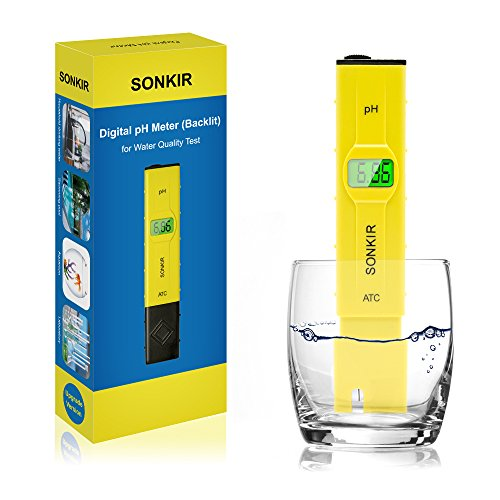 Sonkir pH Meter, Digital pH Tester/Water Quality Tester for Drinking Water, Swimming Pools, Aquariums, Hydroponics, ATC Function, 0.1 Accuracy, Backlit LCD Display (pH Meter)