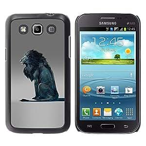MobileHut / Samsung Galaxy Win I8550 I8552 Grand Quattro / Lion Blue King Abstract Grey King / Delgado Negro Plástico caso cubierta Shell Armor Funda Case Cover
