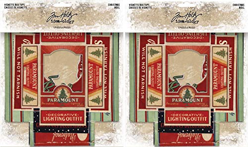 Tim Holtz Idea-Ology 2018 Christmas Vignette Box Tops - Two Packs - 10 Tops Bundle -