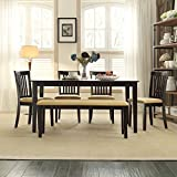 iNSPIRE Q Wilma Black Cushioned Dining Set by Classic Black - Window Back Chairs 7 Piece