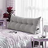 WOWMAX Triangular Wedge and Body Positioners Reading Pillow Large Bolster Headboard Backrest Support Cushion for Day Bed Bunk Bed with Removable Cover Twin Velvet Gray