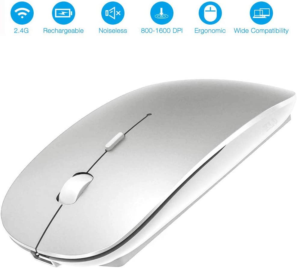 Rechargeable Wireless Mouse, 2.4G Slim Mute Silent Click Noiseless Optical Ergonomic Mouse Portable Travel Cordless Mouse with USB Receiver Compatible with Laptop/Computer/Notebook/Desktop/PC (Silver)