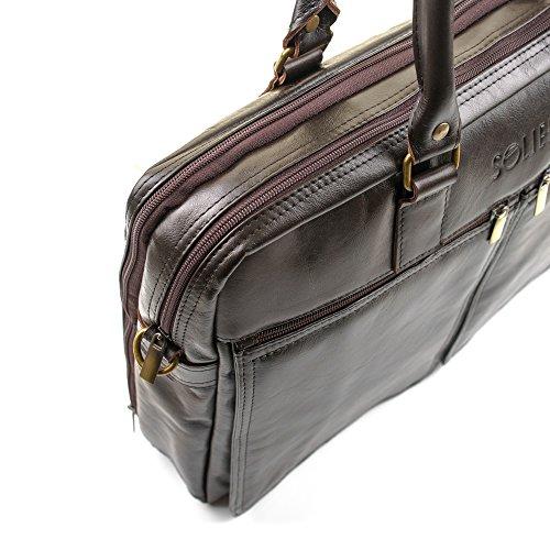 Solier para hombre piel auténtica bolsa de hombro portátil Macbook Premium Dundee SL01 marrón marrón