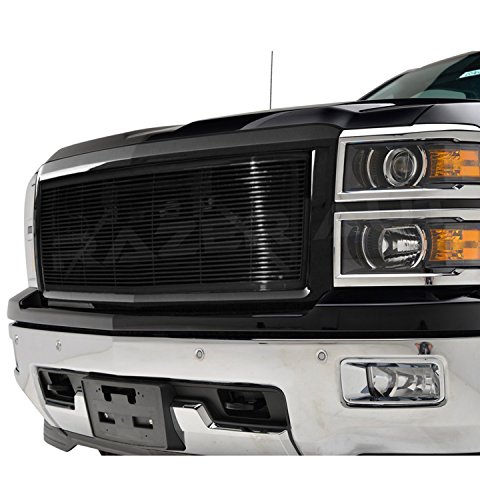 2014-2015 Chevy Silverado 1500 Gloss Black Billet Grille Complete Factory Replacement Grille Shell