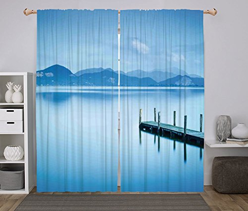 Cheap 2 Panel Set Window Drapes Kitchen Curtains,Summer Wooden Pier Jetty Lake Sky Reflection on Water Serene Tranquil Summer View Print Light Blue,for Bedroom Living Room Dorm Kitchen Cafe