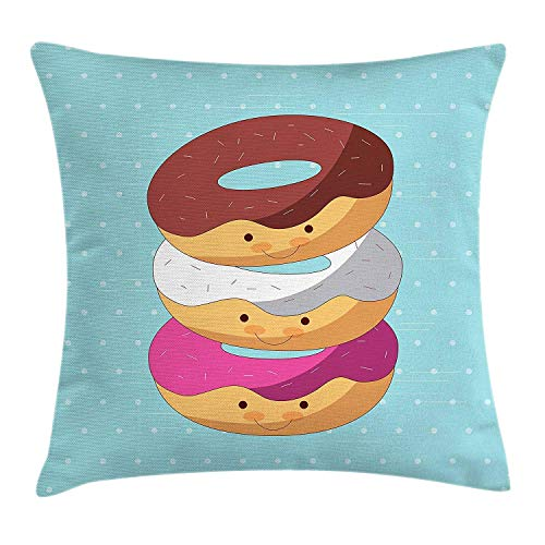 TysoOLDPhoneC Anime Throw Pillow Cushion Cover, Kawaii Cartoon Style Colorful Donuts with Funny and Cute Faces on Blue Background, Decorative Square Accent Pillow Case, 18 X 18 Inches, Multicolor