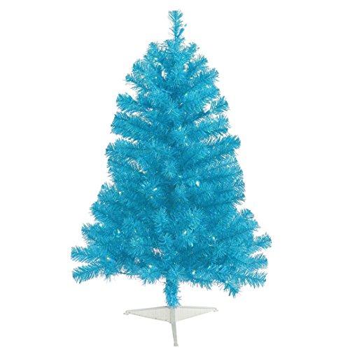Blue Artificial Christmas Tree - Vickerman Artificial Christmas Tree with 105 PVC Tips & 50 Dura-Lit Italian LED Mini Lights, 3' x 19