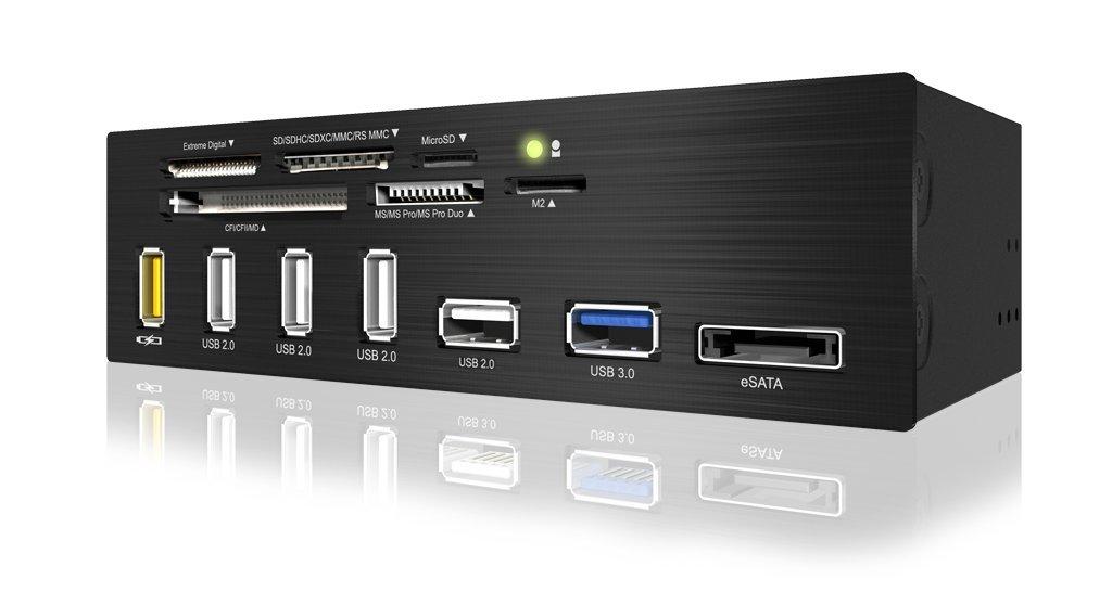 EZDIY 5.25 inch USB 3.0 Multi-Card Reader with USB Charging Port(6-Slot Card Reader, 1x USB 3.0, 4X USB 2.0, 1x eSATA, USB-Charging Port)