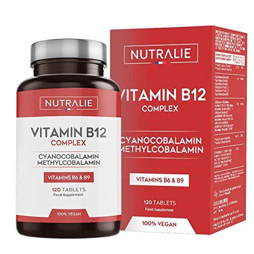 🥇 Vitamina B12 Vegana 2000mcg Cianocobalamina y Metilcobalamina | Alta Potencia Sin Aditivos | Reducción Cansancio y Formación Glóbulos Rojos con B9 y B6 | 120 Comprimidos Veganos Nutralie