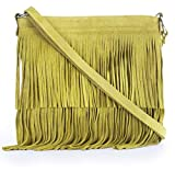 LIATALIA Womens Fringe Handbag - Real Italian Suede Leather - Tassle Effect Shoulder Bag - (Large Size) - ASHLEY [Mustard]