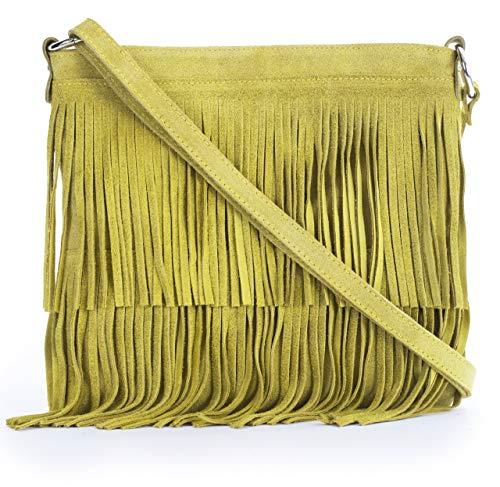 LIATALIA Womens Fringe Handbag - Real Italian Suede Leather - Tassle Effect Shoulder Bag - (Large Size) - ASHLEY [Mustard]