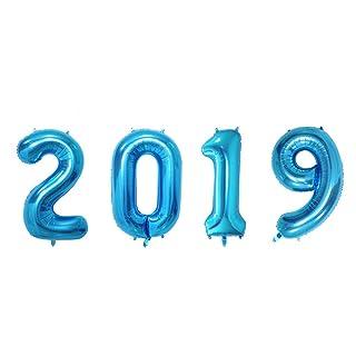 EisEyen 2019 - Palloncini a Forma di Numero per Aria o Elio, 16/32', Colore: Oro Rosa/Blu/Argento/Oro 16 Zoll Gold 16/32