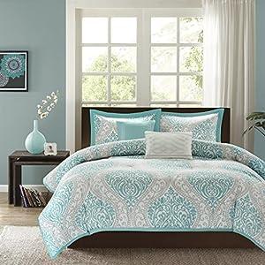 Intelligent Design Senna Comforter Set Full/Queen Size – Aqua Blue/Gray, Damask – 5 Piece Bed Sets – All Season Ultra…