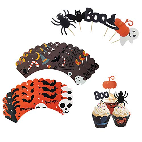 48 Pieces Halloween Cupcake Decoration Set include Cupcake Toppers Picks and Pattern Wrappers for Halloween Party Cake Decoration(Pumpkin Spider Ghost Hat Bats Boo) -