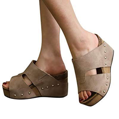 Sandals for Women with Heels, Womens Wedge Platform Slide-On Sandal Open Toe Dress Summer Casual Slippers Shoes: Clothing