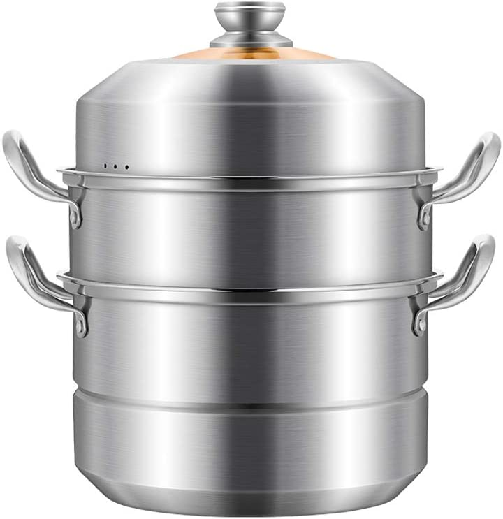 Large stainless steel steamer soup pot28CM / 30CM / 32CM, 3 Tier Stainless Steel Induction Hob Steamer With Glass Lid Cookware Pot & Pan Set,food Steamer-28CM