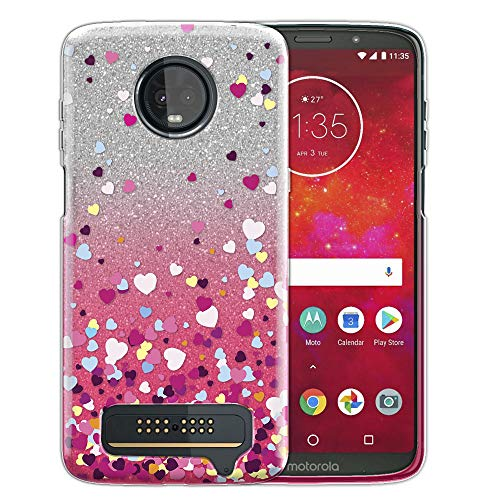 FINCIBO Case Compatible with Motorola Moto Z3 Play, Shiny Sparkling Silver Pink Gradient 2 Tone Glitter TPU Protector Cover Case for Moto Z3 Play - Falling Hearts ()