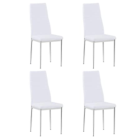 Sedie Da Cucina In Acciaio.Goldfan Sedie Da Cucina Set Di 4 Sedie Da Pranzo Moderne Bianche