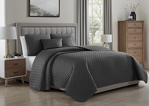 Francesco 5pc Coverlet & Bed Cover Set, Charcoal Grey Quilte