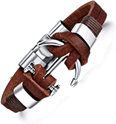 Euromen Pulseras De Hombre Handmade Retro Leather Woven Anchor Bracelet Men PL0050