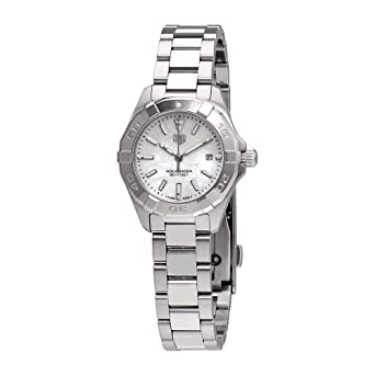 bcf343f5339 Amazon.com  Tag Heuer Aquaracer White Mother of Pearl Dial Ladies ...