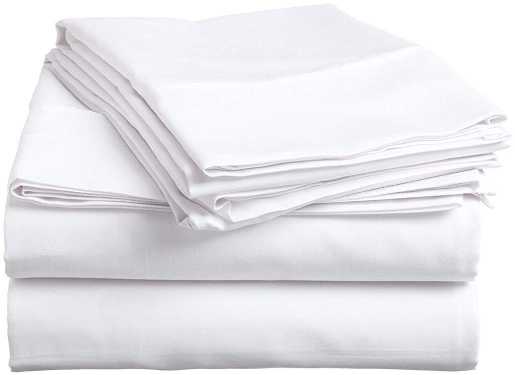 Way Fair Sheet Set Twin Extra Long Size White Solid 100% Cotton 600 Thread-Count (15'' Deep Pocket Drop) by