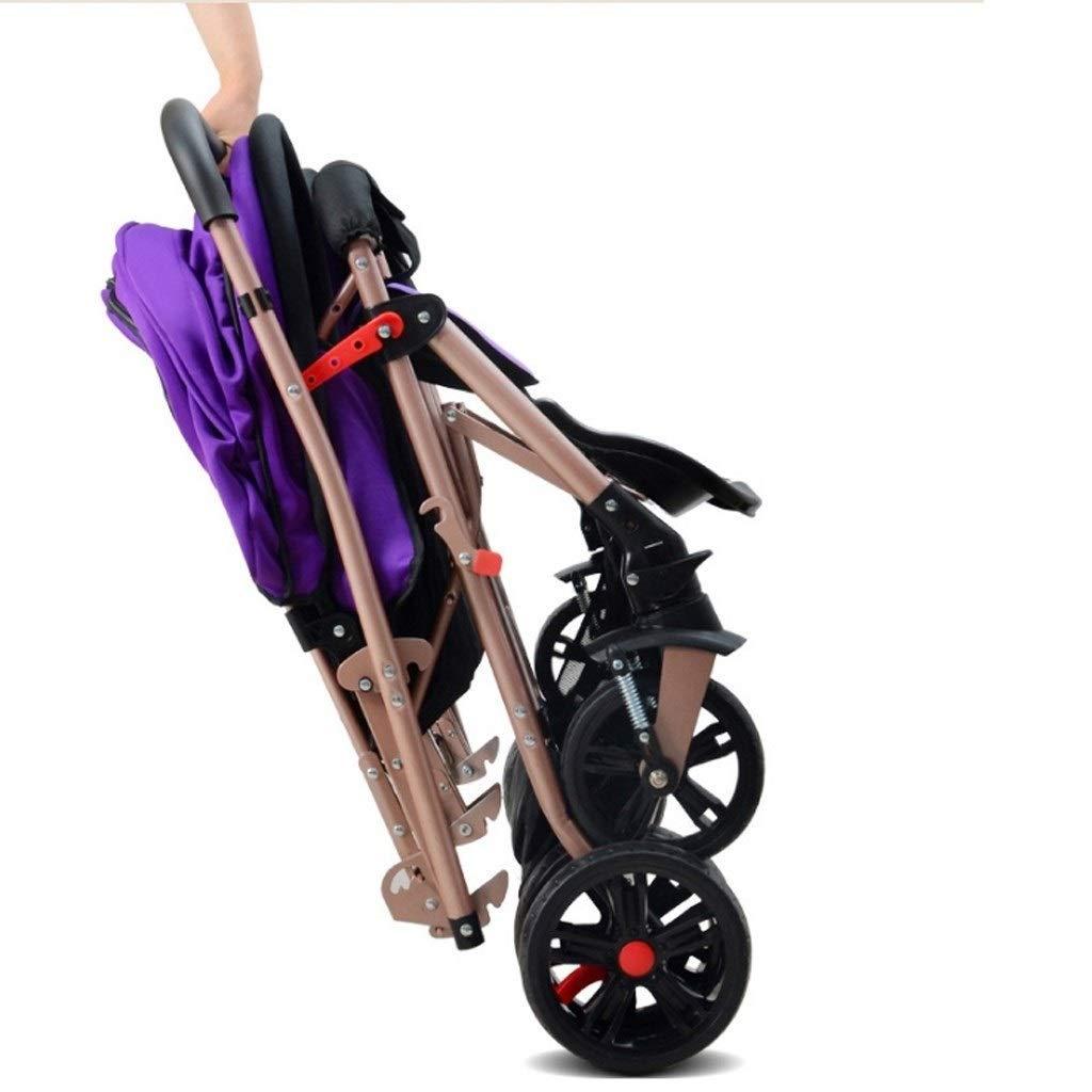 Color : Purple Double Baby Stroller High Landscape Tandem Strollers Folding Carriage Twin Newborn Stroller Lightweight Portable Travelling Pram Children Pushchair