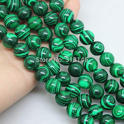 SHENGSHIHUIZHONG Wholesale Round Peacock Malachite Lace Striped Stone Stone Strand Beads for DIY Bracelet Necklace Jewelry Making 4 6 8 10 12mm Color : Turquoise Blue, Size : 12mm